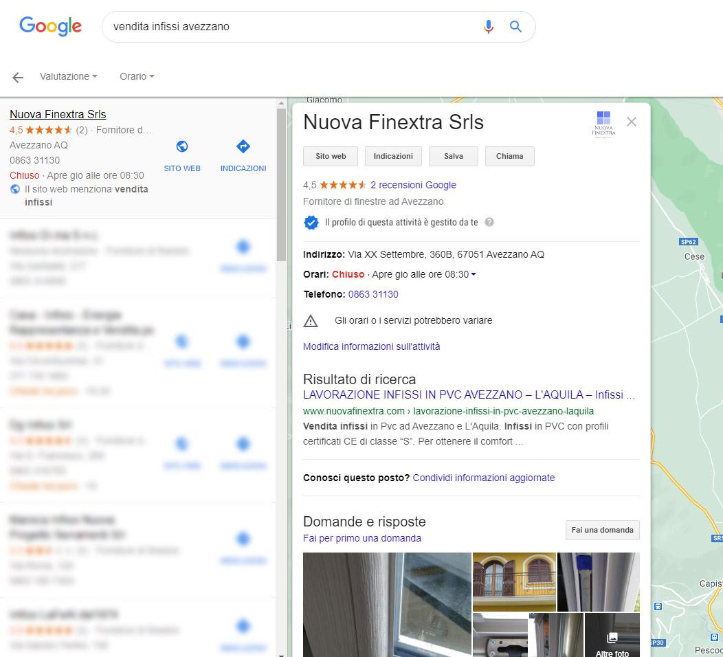 Local seo Avezzano - la scheda di Nuova Finextra srl su Google my business
